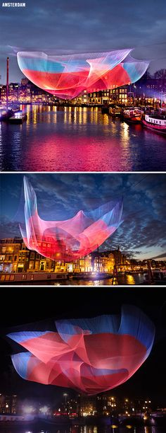 American artist Janet Echelman - sculptural nets that are colorful and billowing during the day, and light up the skyline at night #Lighting #Installation #LED #LEDlighting #Lights #LEDlights #Inspiration #LEDs #Arts #Visual [Light Art - Light Installation - Light Painting - Light Exibithion]