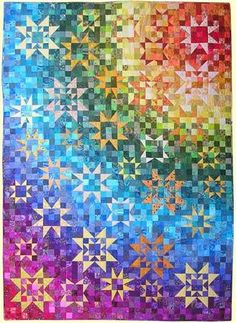 """Rainbow -- A quilt with stars. From """"Color Play"""" book by Joen Wolfrom"""