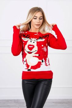 Pulover de Craciun dama ren cu imprimeu rosu Ren, Christmas Sweaters, Fashion, Elegant, Tricot, Moda, Fashion Styles, Christmas Jumper Dress, Fashion Illustrations