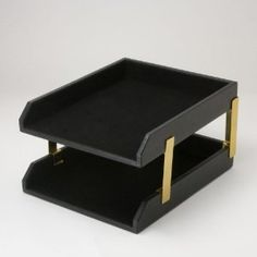 leather double legal letter tray black with gold accents spray paint and contact black contact paper project