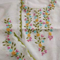 Pretty things 4 U by Jas❣ Embroidery On Kurtis, Hand Embroidery Dress, Hand Embroidery Videos, Embroidery On Clothes, Embroidery Works, Couture Embroidery, Simple Embroidery, Embroidery Suits Punjabi, Hand Embroidery Design Patterns