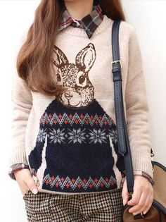 Bunny Slope Fashionista Rabbit Fair Isle Slouchy Sweater Chelsea Verde S | eBay $66