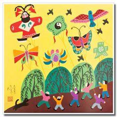 Chinese peasant painting, folk art, kids, colorful kites Chinese Crafts, Chinese Art, Chinese Kites, Farmer Painting, Wooden Snowmen, Primitive Snowmen, Primitive Crafts, Primitive Christmas, Country Christmas