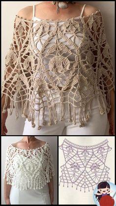 Crochet Hooded Scarf, Gilet Crochet, Crochet Cape, Crochet Cardigan, Crochet Scarves, Crochet Clothes, Knit Crochet, Crochet Shawl Diagram, Crochet Stitches Chart