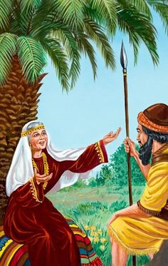 In the book of Judges, Deborah and Barak work together to conquer King Jabin. Deborah prophesies that a brave woman will conquer Jabin's army chief, Sisera. Deborah In The Bible, Biblical Costumes, Christian Warrior, Women Lawyer, Bible Illustrations, Bible Pictures, Brave Women, Bible Knowledge, Bible Art