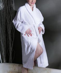 This White Salbakos Luxury Turkish Cotton Bathrobe by  is perfect! #zulilyfinds