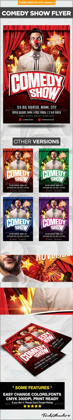 Comedy Night Flyer Template Comedy nights, Flyer template and - comedy show flyer template