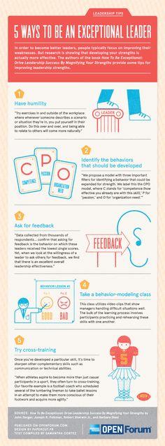 5 maneras de ser un líder excepcional #infografia #infographic