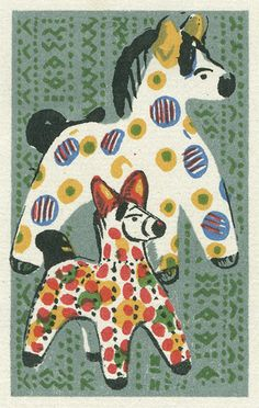 Illustration of  Dymkovo toy (traditional clay toys from the Russian village of Dymkovo) horses. Matchbox label, Russia, 1970s