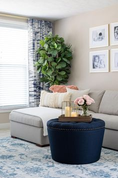 Round Tufted Storage Ottoman via #bhglivebetter influencer @twotwentyone. #livingroomdecor #storageottomans #livingroomfurniture #storagedecor #livingroomideas #storageideas #roundstorageottoman #tuftedstorageottoman Round Tufted Ottoman, Round Storage Ottoman, Tufted Storage Ottoman, Coral Pillows, Linens And More, Affordable Furniture, Better Homes And Gardens, Quality Furniture, Home Collections