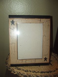 Primitive Crackle Tan Picture Frame 5x7~ Black Stars ~ Country Decor #NaivePrimitive