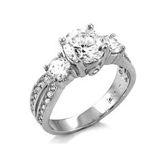 Sadie's Three Stone Sterling Silver CZ Anniversary Ring | Fantasy Jewelry Box