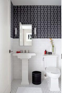 graphic link wallpaper + subway tile