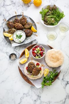 Herby lamb koftas with yoghurt sauce recipe Dinner Party Recipes, Supper Recipes, Meat Recipes, Food Processor Recipes, Chicken Recipes, Dinner Ideas, Lamb Koftas, Cumin Lamb, Blanched Almonds