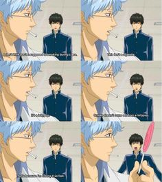 Smoke is coming out of the lollipop because he's licking it so fast! I love Ginpatsu sensei! All Anime, Manga Anime, Anime Art, Anime Stuff, Gintama Funny, Manga Tutorial, Funny Scenes, Manga Games, Disney Cartoons