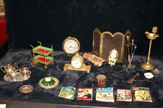 33 Vintage Dollhouse Dining & Living Room Accessories Clocks Teaset Magazines