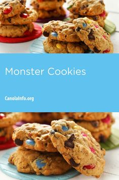 Who can resist monster cookies? Get lunch-time ready! Baking Recipes, Snack Recipes, Snacks, Baking Ideas, Pecan Rolls, Canola Oil, Test Kitchen, Fall Recipes, Baking Soda