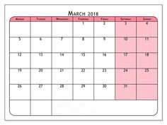 Free March 2018 South Africa Calendar