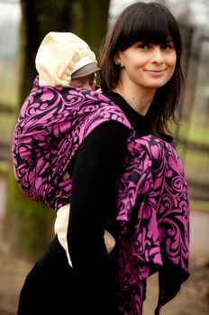 Baby Wrap, Jacquard Weave (100% cotton) - Twisted Leaves Purple & Black - size M - LennyLamb.com