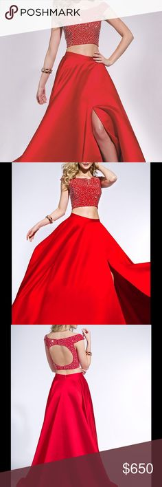 ‼️HUGE PROM SALE‼️ NWT Jovani Long 2 Piece Dress ‼️25% OFF‼️ This beautiful long two piece dress by Jovani will take your next formal event from drab to fab. With a beaded off the shoulder crop top, you will sparkle and shine throughout the night. And for some added drama, the full long skirt features a sexy thigh high slit, which makes this off the shoulder dress even more desirable. Jovani Dresses Prom