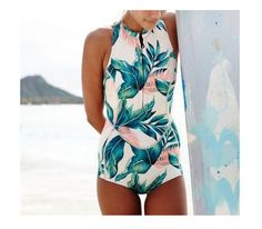 2017 Floral Print One Piece Swimsuit Long Sleeve Swimwear Women Bathing Suit Retro Swimsuit Vintage One-piece Surfing Swim Suits