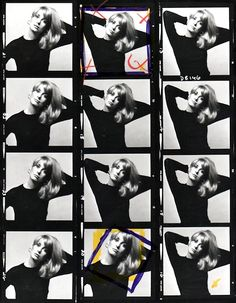 A Catherine Deneuve contact sheet. Photographer: David Bailey, 1965.