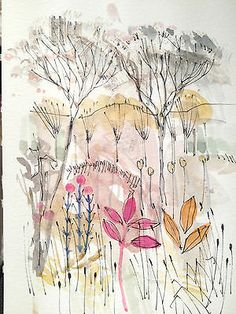 Original Water Colour Painting 'Winter Trees'. Signed.