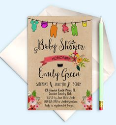 Printable Baby Shower Invitation Shabby chic Baby by AlniPrints