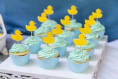 Cute cupcakes at a rubber ducky baby shower! See more party ideas at CatchMyParty.com!