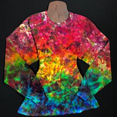 7c7e713a91317a Size Adult XL Long Sleeve Tie Dye Shirt • Rainbow Splatter Ice Dyed Long  Sleeve T