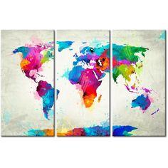 Cuadro para pared Map of the world - an explosion of colors (triptych) será una gran decoración de la pared. Ve colección de cuadros para pared Mapamundi - decoraciones originales y baratas en artgeist.