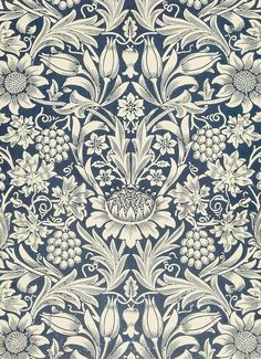 Sunflower wallpaper, designed by William Morris, manufactured and printed by Jeffrey & Co. © Victoria and Albert Museum, London William Morris Wallpaper, William Morris Art, Morris Wallpapers, Arts And Crafts Movement, Textures Patterns, Fabric Patterns, Print Patterns, Motifs Art Nouveau, Inspiration Wand