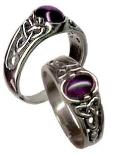 CELTIC Triquetra Ring .925 Sterling Silver Triskele w/ Amethyst Trinity knot