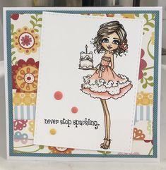 Created by Me-Cristina Victorino Raposo, Polkadoodle Birthday Card Birthday Cards, Sparkle, Create, Bday Cards, Glow, Congratulations Card