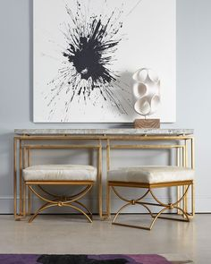 Cynthia Rowley for Hooker Furniture Serendipity Console & Brando Ottoman