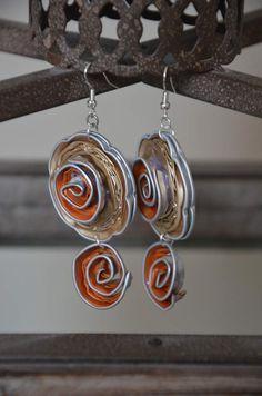 Boucles d'oreilles printanières orange en Capsules Nespresso - L. et ses p'tites mains