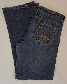 Kut from the Kloth medium wash denim boot cut stretch jeans SZ 10 W31 L33 #KUTfromtheKloth #BootCut