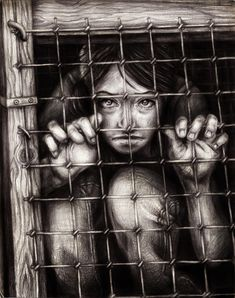 What I like about this image:  I like her eyes watching the audience, and her fingers through the bars. Feels very powerful