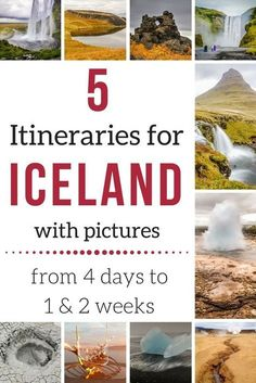 Iceland Itineraries with many photos - Discover 5 suggestions for 4 days, one week South and one week North, 10 days Itinerary and more...   Iceland Travel   Iceland Itinerary   Iceland Itinerary summer   Iceland Itinerary Road Trips