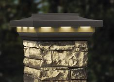 This Woodland Gray-colored postcover cap complements all three cast stone postcover styles by highlighting their nighttime beauty. Twelve, warm, white LED lights shine down from around the perimeter of each cap, illuminating the darkness and accenting the bold styling of our postcovers. These low-profile, traditionally-designed caps — include a rechargeable battery.