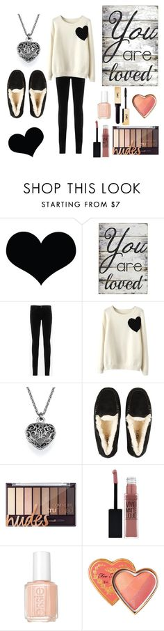 """You Are Loved"" by bayleigh10 ❤ liked on Polyvore featuring Pier 1 Imports, AG Adriano Goldschmied, WithChic, UGG Australia, Maybelline and Essie"