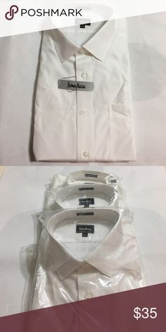 Designer 💯 %Cotton Cotton Long Sleeve Dress Shirt Designer high quality seaming, luxury weaves, modern styling, long staple cotton and a classic fit are just a few of the things that will keep you or your man looking good.   💯 % 2ply cotton, long sleeves will round out the deal. Neiman Marcus Shirts Dress Shirts