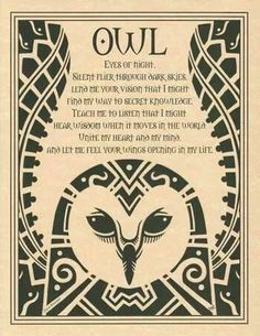 Spirit of Owl, Eyes of night. Silent flier through dark skies, lend me your vision that I might find my way to secret knowledge. teach me to listen that I might hear wisdom when it moves in the world. Unite my heart and mind and let me feel your wings opening in my life.