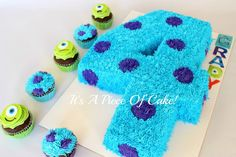 Monster's Inc. * Carved from a sheet cake, buttercream iced with grass tip. Monster Inc Birthday, Monster Inc Party, Disney Themed Cakes, Disney Cakes, Cupcakes, Cupcake Cakes, Cupcake Ideas, Toddler Birthday Cakes, 2nd Birthday