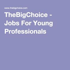 TheBigChoice - Jobs For Young Professionals including student jobs, tasters and internships.