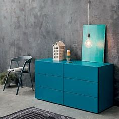 Bright blue, elegant 'Puff' chest of drawers by Morasutti Contemporary Furniture, Furniture Design, Bright, Cabinet, Dining, Living Room, Elegant, Storage, Restaurant