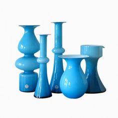 Danish Glass Vases by Per Lütken for Holmegaard, Set of 5 Blenko Glass, Unique Home Accessories, Art Of Glass, Living Styles, Opaline, Milk Glass, Vintage Shops, Vase, Scandinavian Style