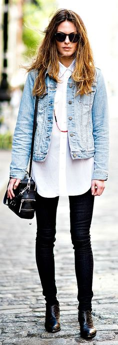 Stylish outfits tight jeans long white shirt and blue jeans jacket