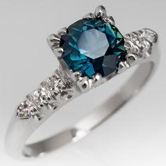 Vintage Teal Sapphire Ring 1950's Platinum Diamond Mount