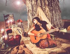 Moontime woman sings the songs of her ancient blood wisdom... Songs her grand mothers mothers sang when they sat beneath the full moon bleeding. (a gypsy priestess)   Bohemian, Vagabond, Gypsy, Girl, Art Nouveau, Mucha, guitar